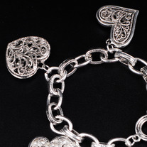 Antiqued Heart Charm Bracelet