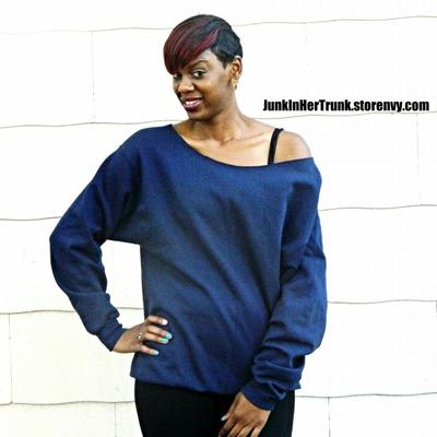 Navy blue off the shoulder sweatshirt