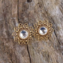 Clear Crystals and Antique Gold Filigree Post Earrings