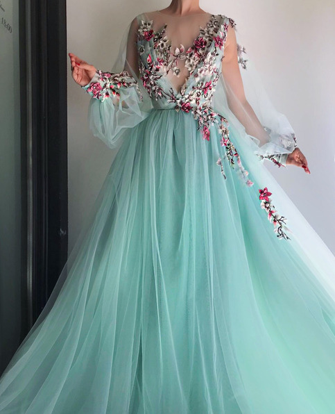 Blue Tulle Floral Embroidered Puff Sleeve Prom Dress