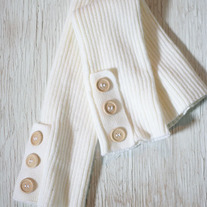 White Knit Legwarmers with Buttons
