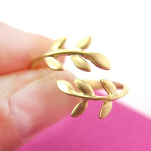 Floral Leaves Wrap Around Adjustable Ring in Gold