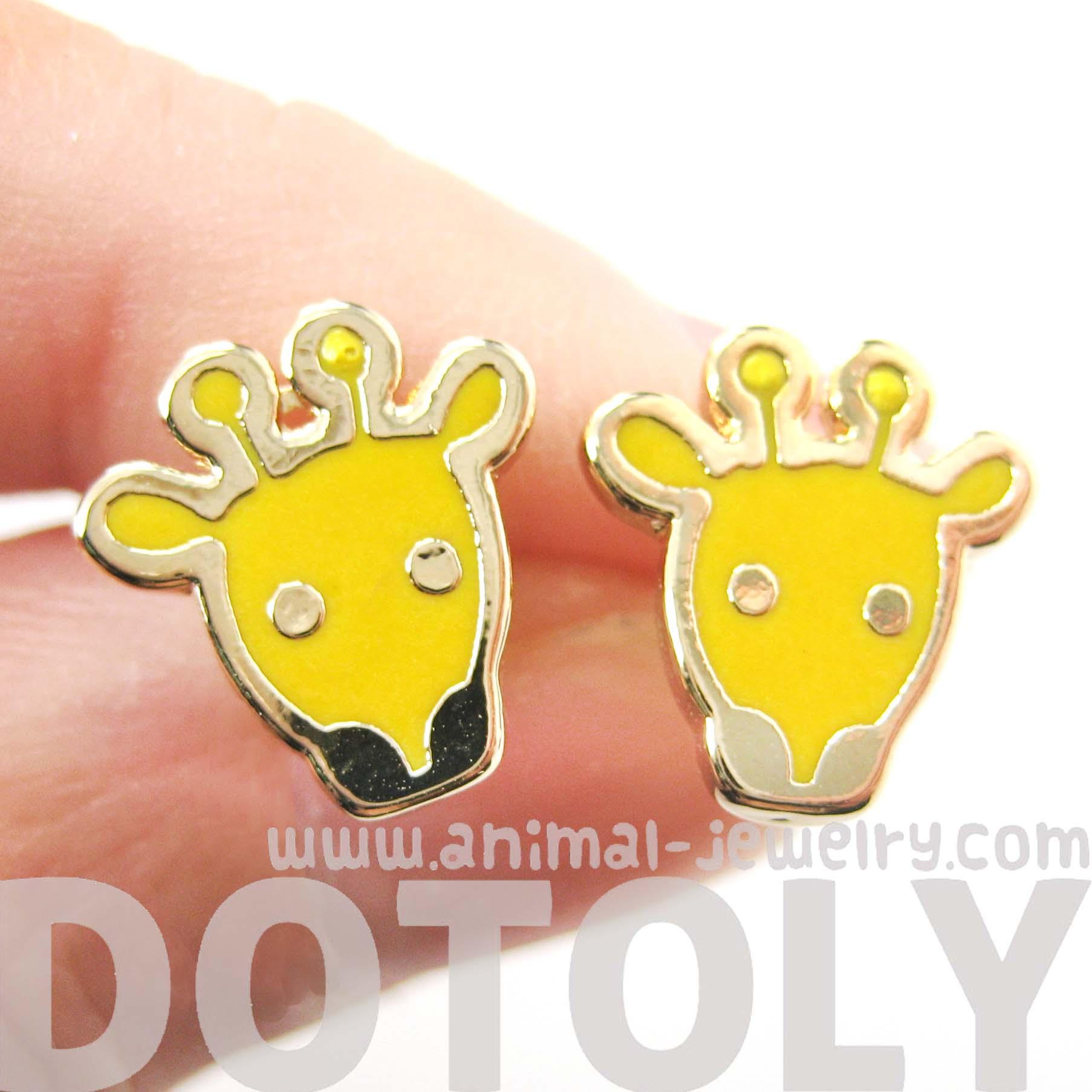 Cute Giraffe Shaped Animal Stud Earrings In Yellow Enamel On Gold   Thumbnail 1