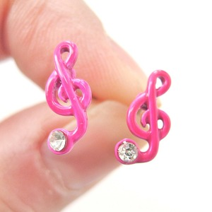 Treble Clef Music Themed Note Shaped Stud Earrings in Pink Enamel