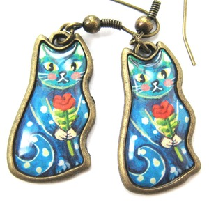 Kitty Cat Shaped Dangle Earrings in Blue Enamel with Floral Details