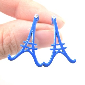 Eiffel Tower Shaped Paris Outline Large Stud Earrings in Blue