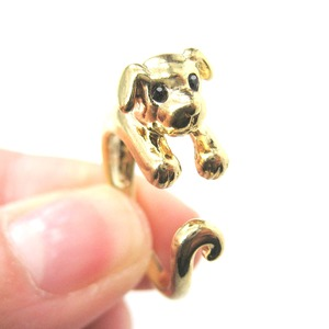 Miniature Puppy Dog Animal Wrap Ring in Shiny Gold - Sizes 5 to 9