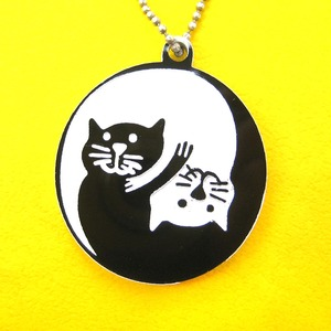 Yin Yang Kitty Cat Animal Themed Round Pendant Necklace in Black White
