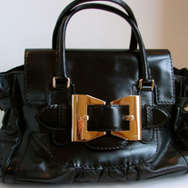 Gucci Black Leather/Patent Leather Handbag/Purse/Bag