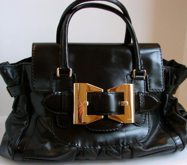 Gucci Black Leather/patent Leather Handbag/purse/bag