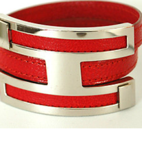 HERMES Red Leather Bangle Bracelet Silvertone P...