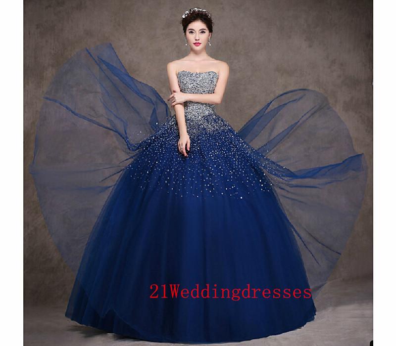 Real Beautiful Navy Blue Prom Dressescharming Long Prom Dressback