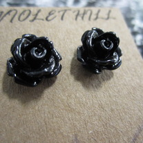 Black Rosebud Earrings