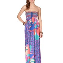 Printed Long Maxi Dress Smocked Tube SML Floral Flower Paisley Spring Blue
