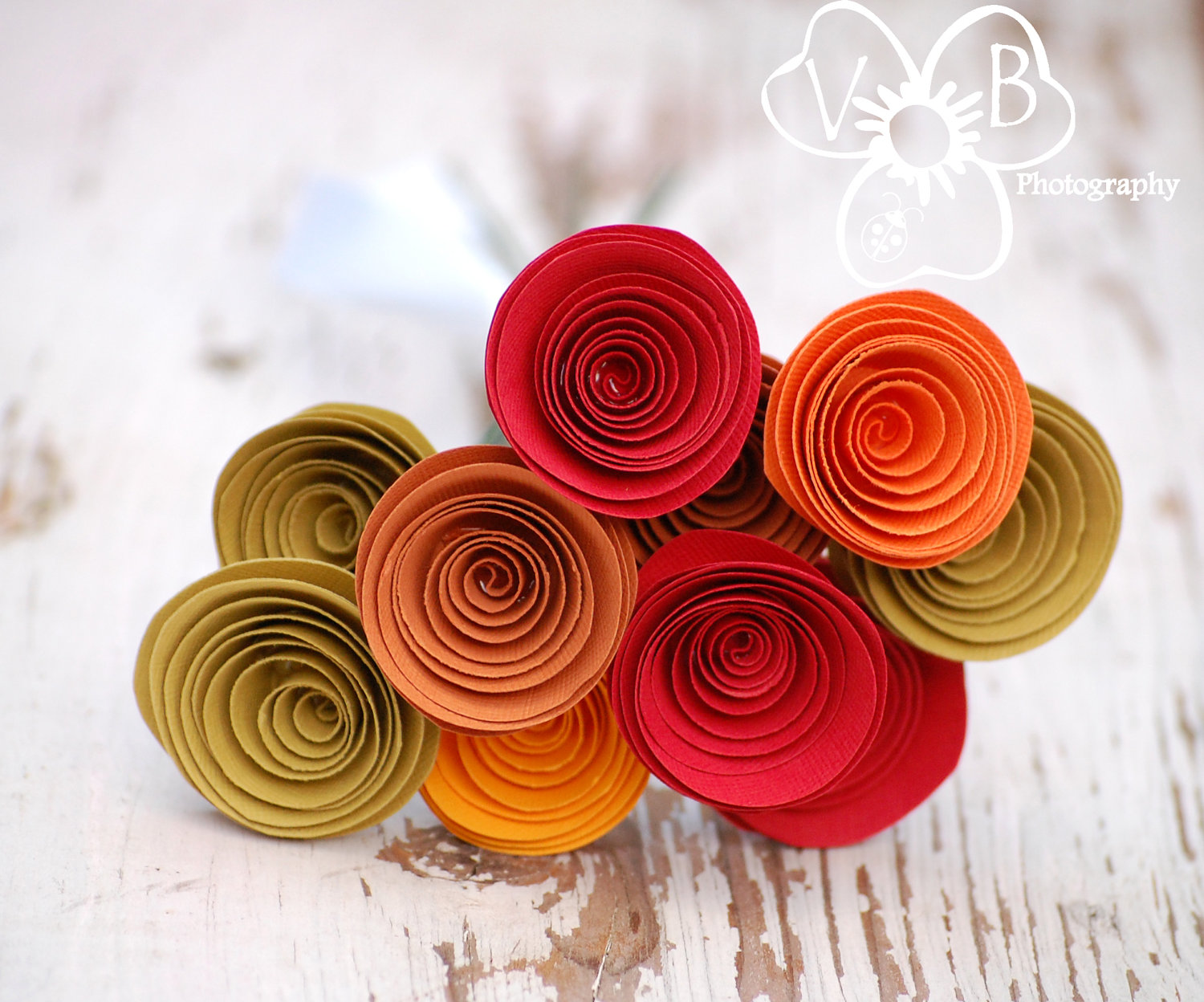 Large Fall Flowers One Dozen Spiral Paper Roses With Stems