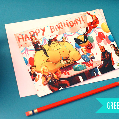 7 pack avengers greeting card - happy birthday