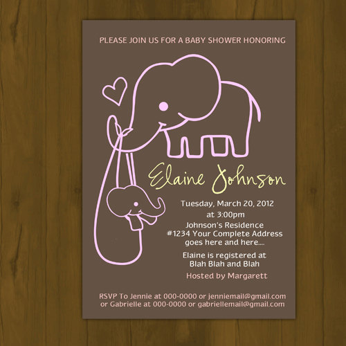 ... Elephant Baby Shower Invitation   Thumbnail 3 ...