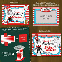 Dr Seuss Printable Baby Shower Package - Cat in a Hat Baby Shower DIY Set - Thumbnail 3