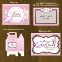 Pink Elephant Printable Baby Shower Package - Thumbnail 3