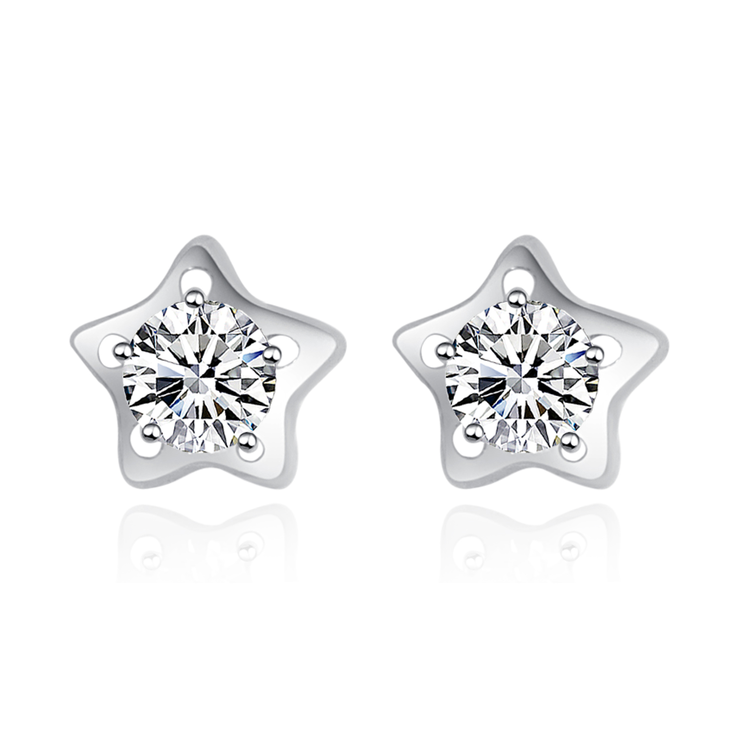cz stud prong silver zirconia earrings diamond sterling in cubic round