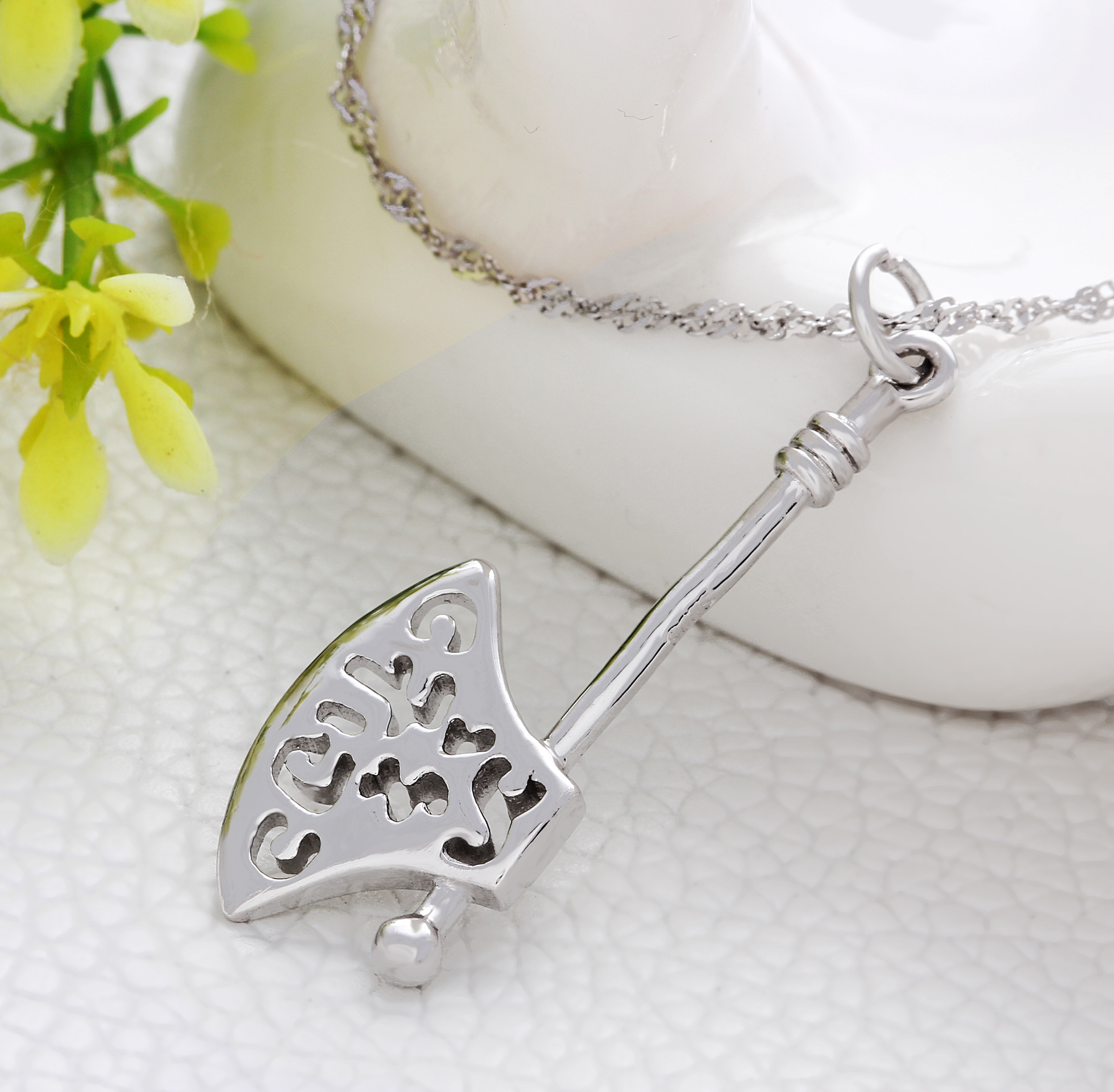 Sterling 925 silver pendant necklace jewelry set with axe pendant sterling 925 silver pendant necklace jewelry set with axe pendant and 18 inch silver chain necklace aloadofball Gallery