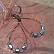 Teal & White Teardrop Earrings