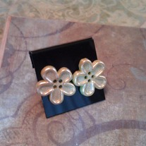 Lime Green Flower Button Earrings