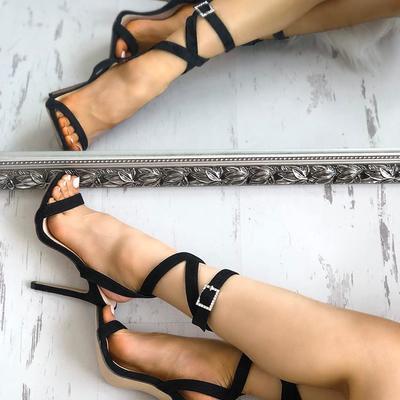 Buckle design crisscross open toe heel sandals g-2960