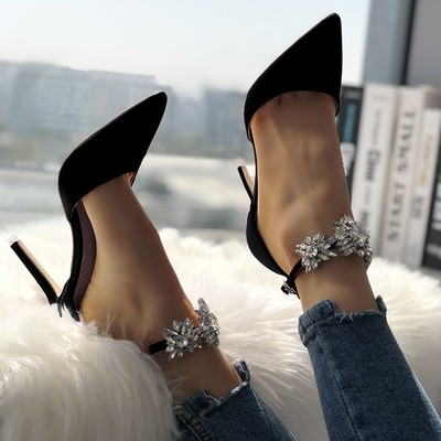 Womens satin pointed toe shiny ankle strap stiletto heels g-2967