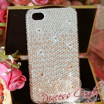Bling Sparkle Crystal Deep to Light Orange Color Crystal iPhone 4/4S Case