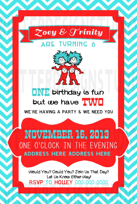 Thing 1 2 Twin Birthday Invitation
