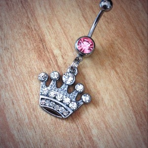 Rhinestone Crown Belly Ring