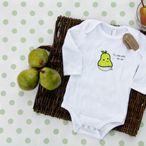 Small Bites Baby - Long Sleeve Baby Pear Onesie, Screen Printed On American Apparel, Made For Foodies