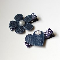 Denim flower/heart set