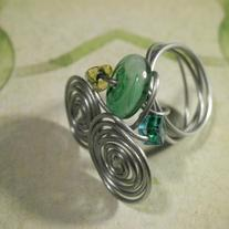 Whirlpool Glass Ring and Earring Set