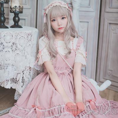 Japanese fashion harajuku 2 colors kawaii fake two piece short sleeve dress lk19091901