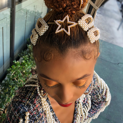 No diamonds, all pearls hair barrettes