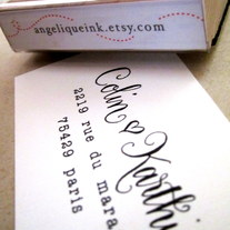 Custom Calligraphy Address Stamp -- Mixed Calligraphy and type - SAISON PARIS Style with heart