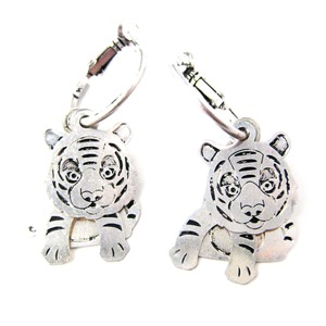 Tiger Cub Shaped Three Part Dangle Earrings in Silver