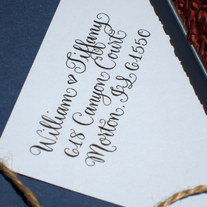 Custom Calligraphy Address Stamp -- All handwritten -- SAISON PARIS Style with Heart