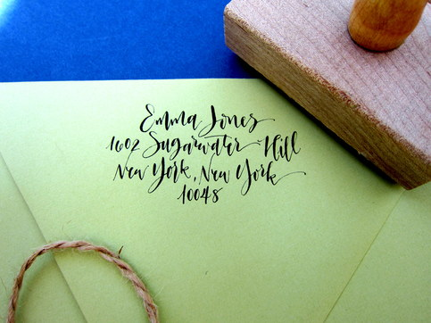 Custom Calligraphy Address Stamp - Rebel Stout Style - All handwritten