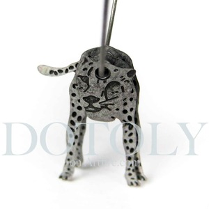3D Leopard Cat Animal Hoop Dangle Earrings in Silver