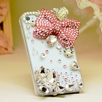 New Bling Crystal Sparkle Big Pink Bow Big Rhinestones iPhone 4/4S Case (#693)