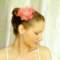 Coral Hair Flower with Pearls  - Thumbnail 1