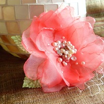Coral Hair Flower with Pearls  - Thumbnail 4