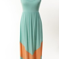 Colorblock Mint Green/ Peach Long Tank Chevron Stripe Maxi Dress