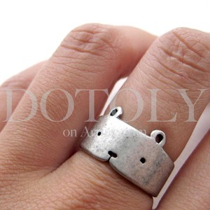 Simple Teddy Bear Animal Wrap Ring in Silver