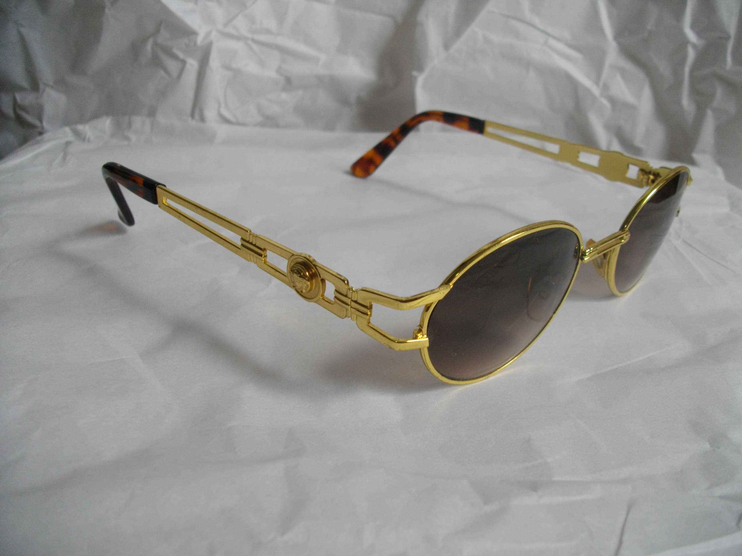 vintage trill versace gold tortoise shell sunglasses