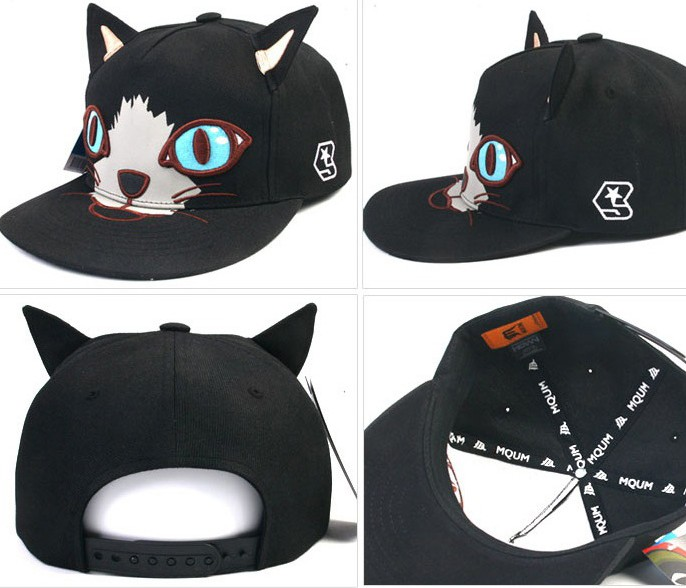 cat ear baseball cap ebay black ears peaked thumbnail