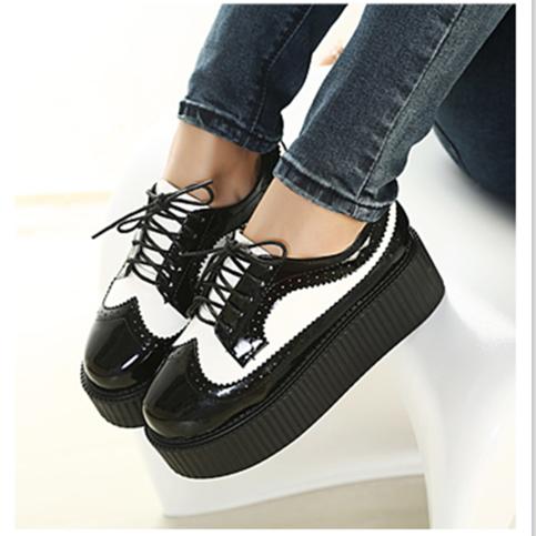 black and white harajuku platform shoes lace up creepers